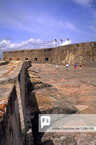 Tourists in fortress  Puerto Rico  Greater Antilles  West Indies