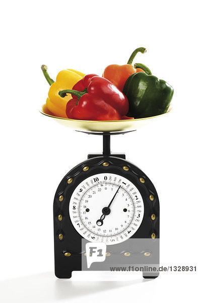 Paprika auf Küchenwaage