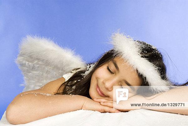 Girl dressed as angel  portrait