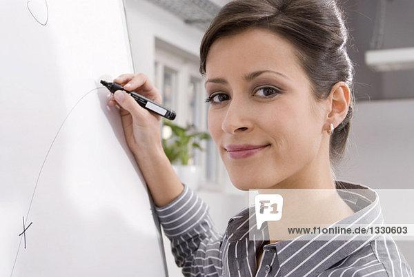 Frau schreibt auf Flipchart  Portrait  lächelnd  Nahaufnahme