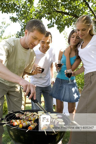 friends having barbecue