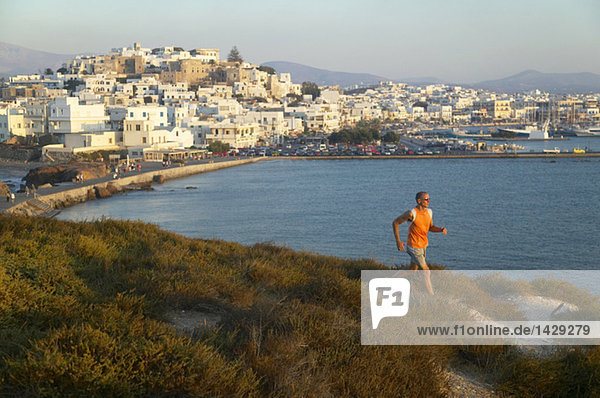 Greece  Naxos  jogging on the coast
