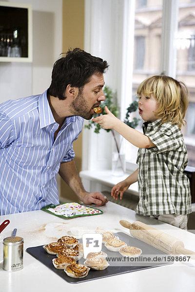 Vater und Kind Bäckerei.