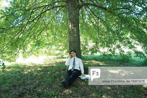 Kaufmann unter Baum  sitzt mit Handy
