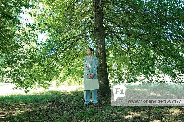 Geschäftsfrau stehen unter Baum  halten Aktenkoffer