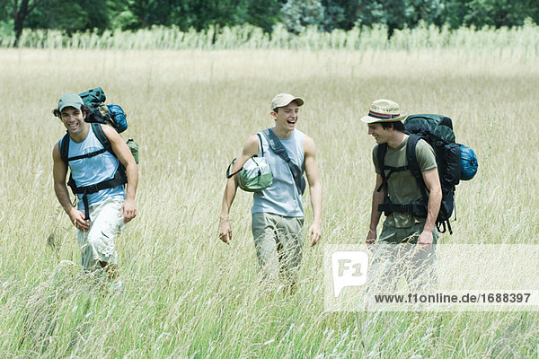 Three hikers walking through field  front view