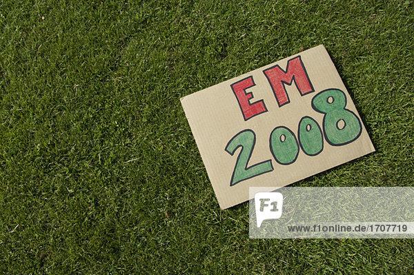 Schild mit der Aufschrift EM 2008 auf einem Fußballrasen  fully_released