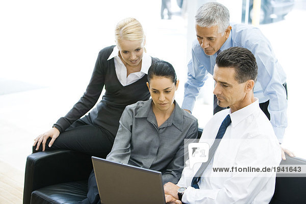 Vier Geschäftsfreunde schauen sich gemeinsam den Laptop an