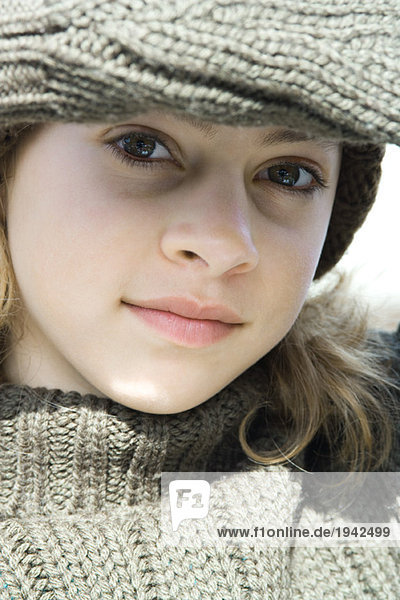 Preteen girl  close-up  portrait