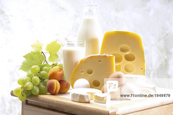 Foodstill with cheese  eggs and milk