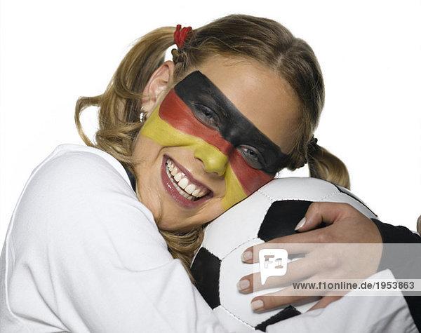 German female soccer fan  close-up