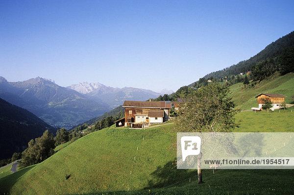 Österreich  Alpen  Blick auf Bartholomäberg