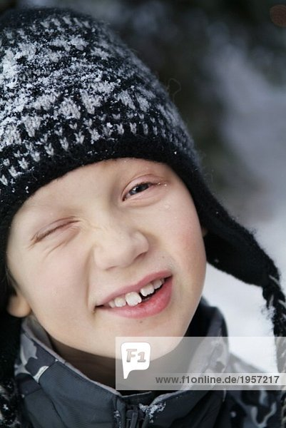 Portrait of boy in winter hat