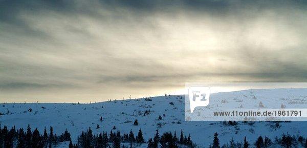 Sonnenschein über dem Berg