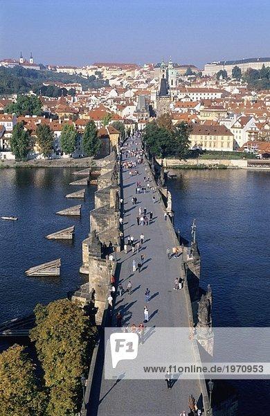 People walking on the Charles Bridge  Prague  Czech Republic