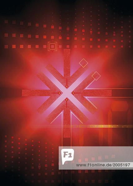 Computergrafik  Kreuz  roter Lichteffekt