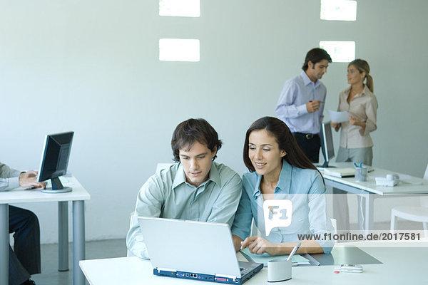 Männliche und weibliche Kollegen  die gemeinsam am Laptop arbeiten