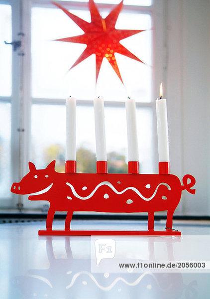 Adventsleuchter und Weihnachtsstern