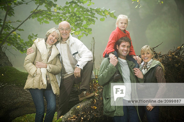 Germany  Baden-Württemberg  Swabian mountains  Family walking together in forest
