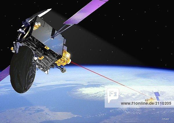 Laser-Link zwischen Satelliten Artemis und Spot 4 im Raum