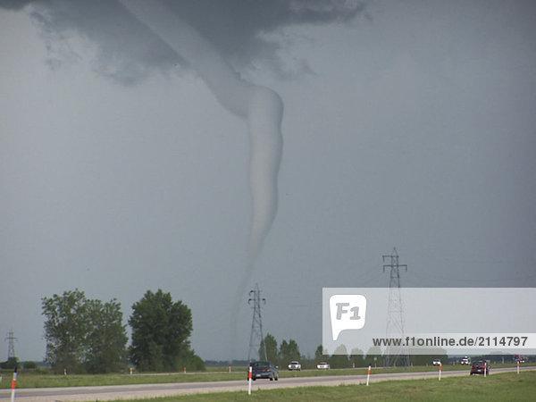 F5 tornado touches down in Elie  Manitoba. F5 tornado touches down in Elie, Manitoba.
