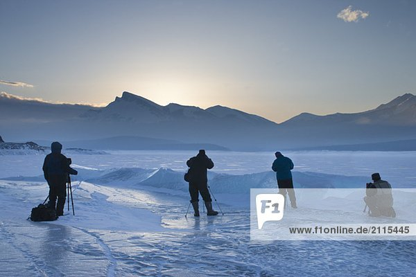 Photographers at Lake Abraham - Bighorn Wildlands - Alberta  Canada