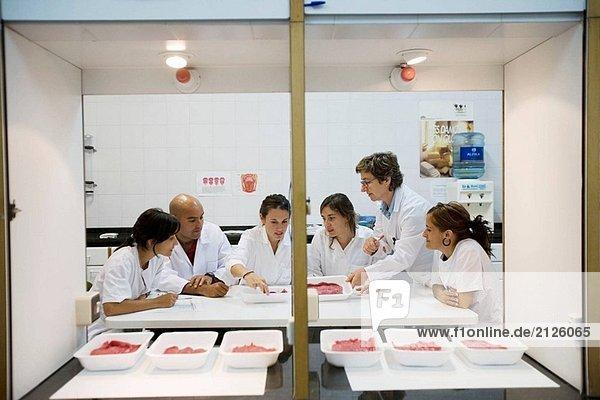 Sensor-Labor. Sensor-Analyse. Fleisch Produkte Geschmack. AZTI-Tecnalia. Zentrum für technologische spezialisiert auf Marine und Food Research. Sukarrieta  Bizkaia  Baskenland. Spanien.