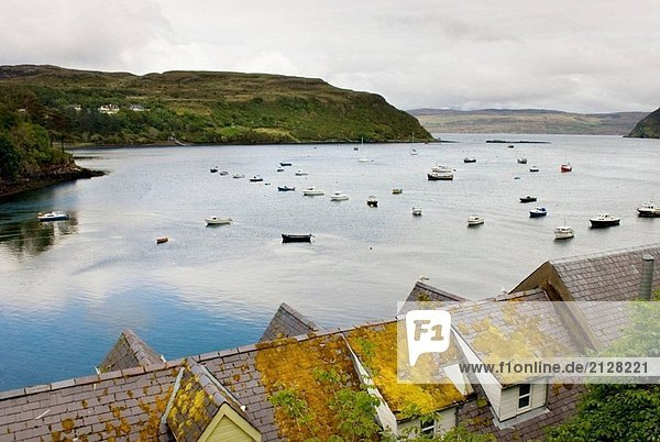 Colorful village of Portee on the Isle of Skye Scotland