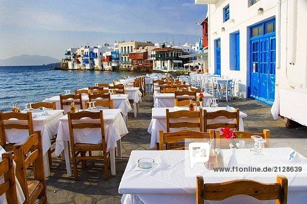 Stuhl klein Restaurant Ignoranz Insel Zimmer Griechenland Tisch Ägäisches Meer Ägäis griechisch Mykonos