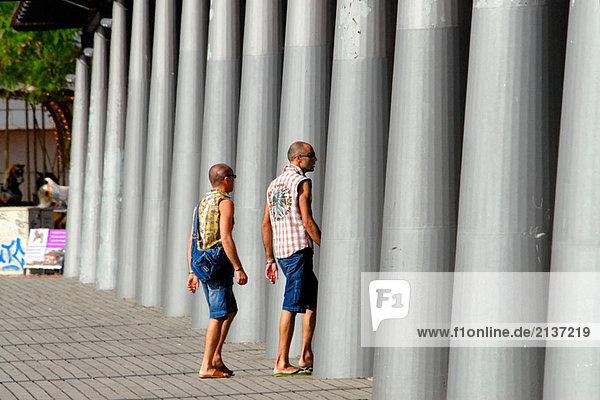 People at Maremagnum area  Barcelona. Catalonia  Spain