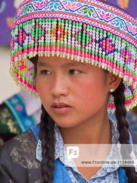 Hmong girl with headdress  Luang Prabang  Laos