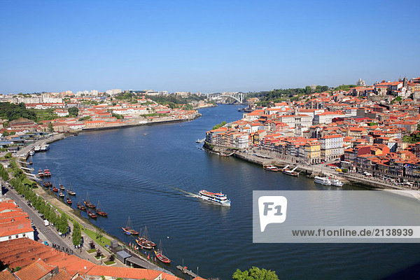 Portugal  Douro  Porto  general aerial view  Douro river