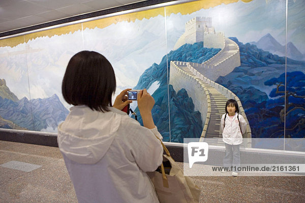 Neue internationale Flughafen Fresko  der große Wall.City von Peking darstellt. China