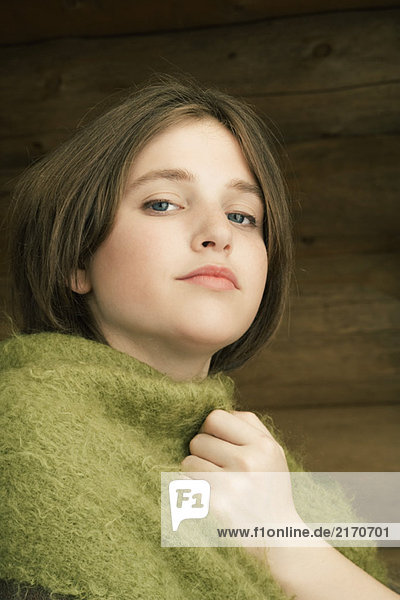 Teen girl with shawl around shoulders  portrait