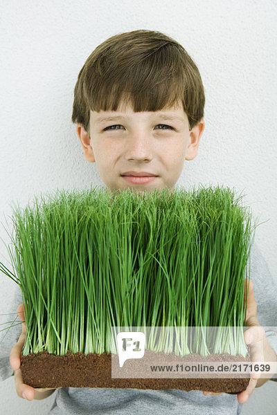 Junge mit Weizengras  lächelnd vor der Kamera