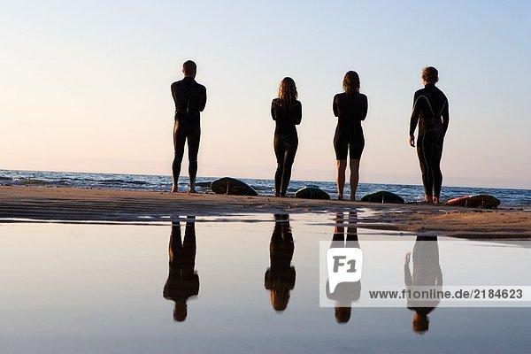 Vier Leute stehen am Strand mit Surfbrettern.