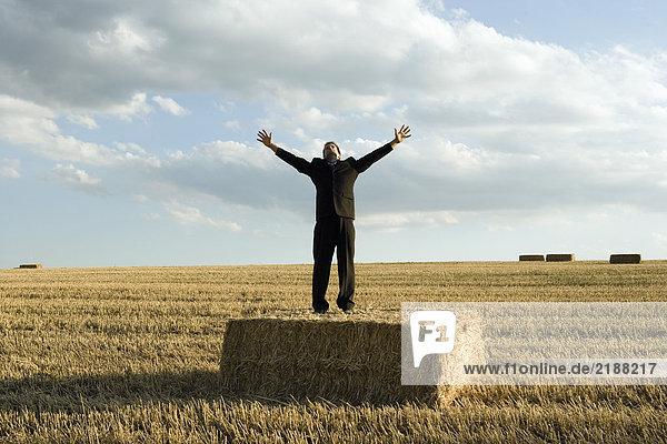 Mann steht auf Heu im Weizenfeld.