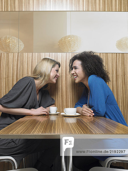 Two young women talking in restaurant  smiling