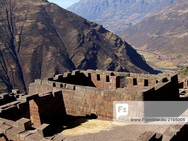 Inka-Ruinen von Pisac. Urubamba Tal. Peru