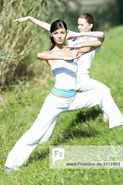 Junge Frauen  sich fit halten im park