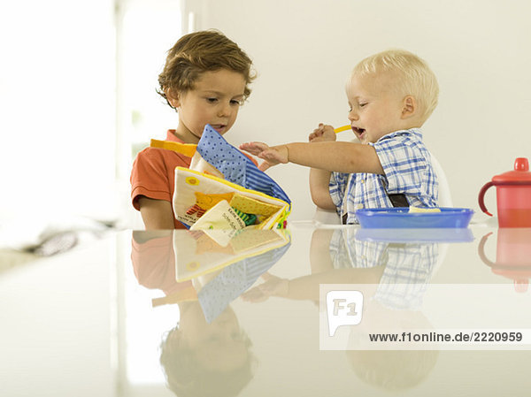 Two boys (4-5)  (12-24 months)  looking at picture book