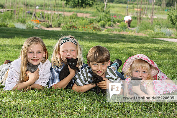 four children lying with kittens in the grass