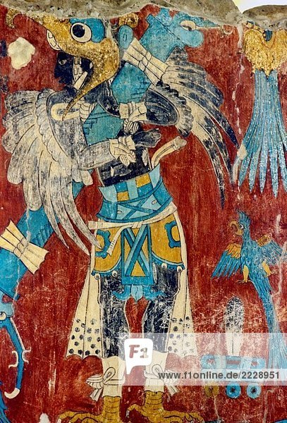 Wall paintings from Cacaxtla archaeological site. Tlaxcala  Mexico