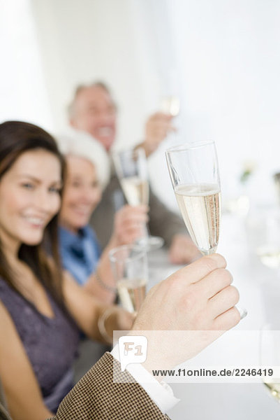 Freunde toasting with champagne