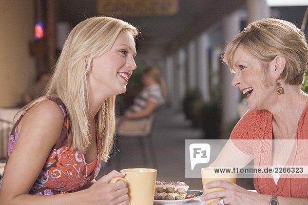 Two women in a café