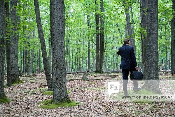 Portrait of young Businessman im Wald mit Handy