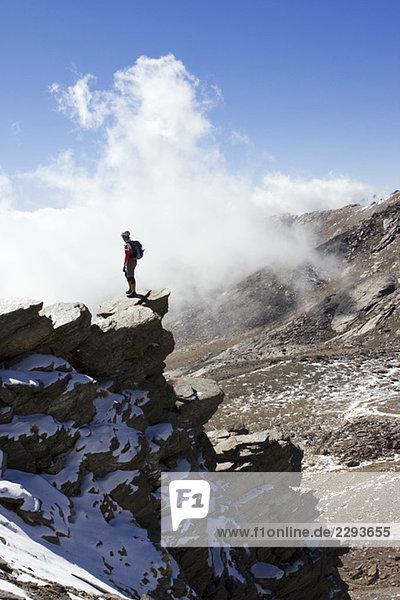 Spain  Sierra Nevada  Granada  man in mountain scenery