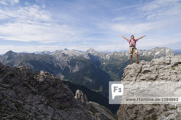 Austria  Salzburger Land  young man cheering