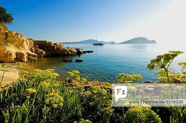 Boot bei Bucht von Laganas. Insel Zakynthos  Griechenland.