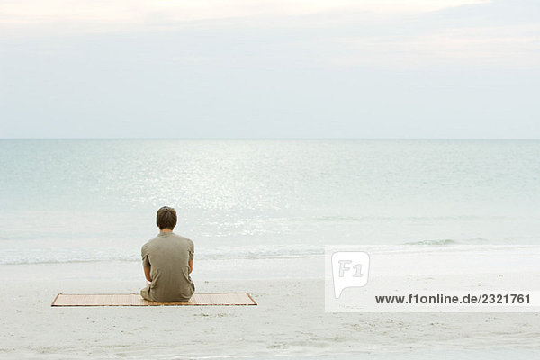 Teenage boy sitting at the beach  looking at the ocean  rear view